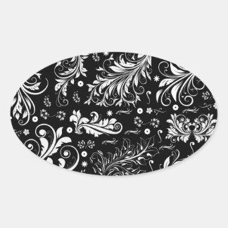 La damassé vénitienne, ornements, tourbillonne - sticker ovale