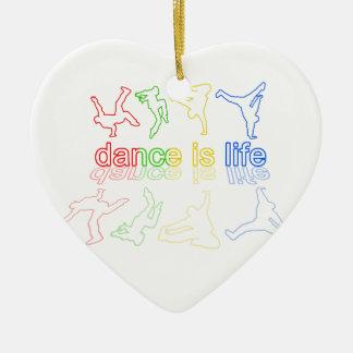 La danse est la vie ornement cœur en céramique