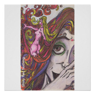 La déesse de couleur de cheveux montre le rouge du poster