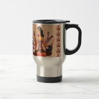 La déesse moderne de femme remet la bande dessinée tasses à café