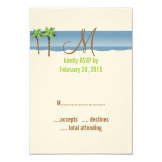 La destination épousant RSVP carde le palmier de Carton D'invitation 8,89 Cm X 12,70 Cm
