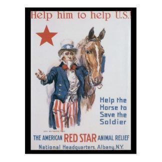 La deuxième guerre mondiale animale de soulagement carte postale