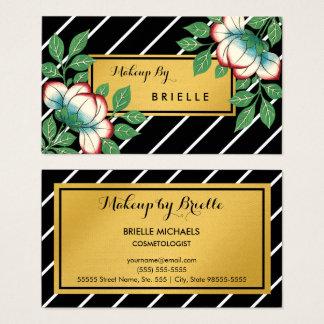La diagonale barre le maquilleur floral d'or de cartes de visite