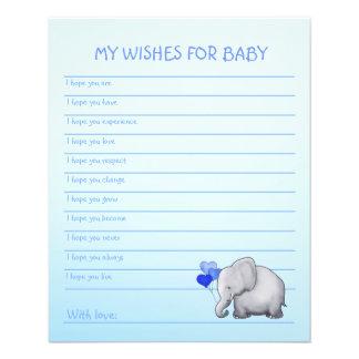 La douche bleue de bébé d'éléphant souhaite le prospectus 11,4 cm x 14,2 cm