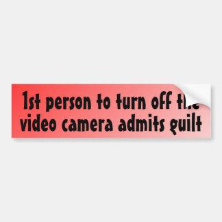 la ?ère personne pour arrêter l'appareil-photo adm autocollant de voiture