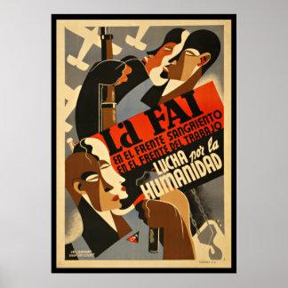 LA FAI - Affiche de propagande de guerre civile Poster