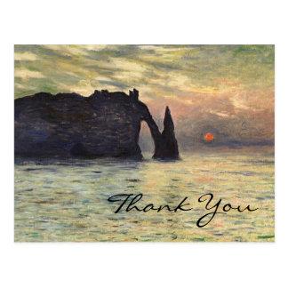 La falaise de Monet, Etretat, coucher du soleil Carte Postale
