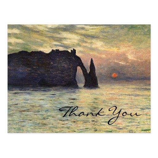 La falaise de Monet, Etretat, coucher du soleil Cartes Postales