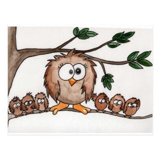 La famille de hibou carte postale