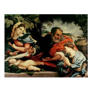 La famille sainte avec St Catherine de Carte Postale