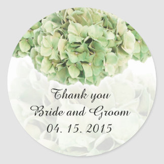 La faveur verte de mariage d'hortensia étiquette