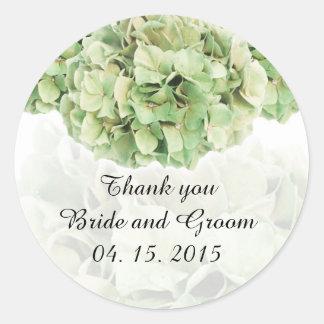 La faveur verte de mariage d'hortensia étiquette sticker rond