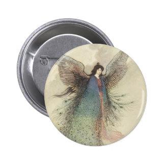 La fée japonaise vintage, musardent la jeune badge rond 5 cm