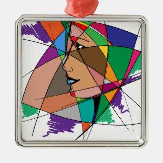 La femme abstraite ornement carré argenté