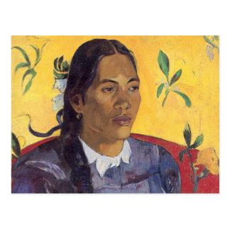 La femme avec la fleur - Paul Gauguin Carte Postale