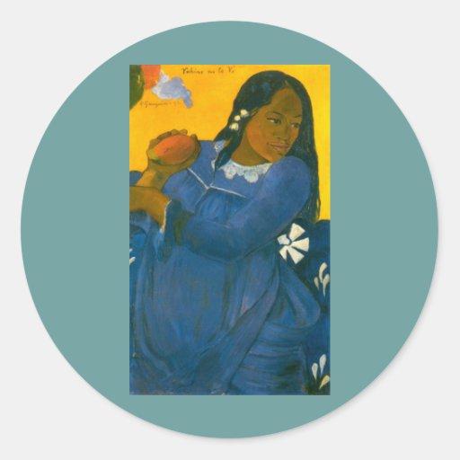 La femme de Paul Gauguin avec une mangue (1892) Autocollant Rond