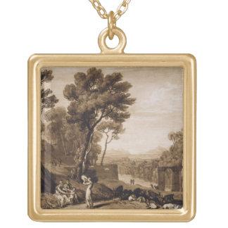 La femme et le tambour de basque, gravés à tour de collier plaqué or