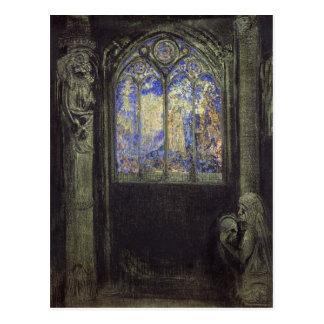 La fenêtre en verre teinté, 1904 carte postale
