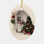 La fenêtre vintage de Noël allume l'ornement Ornement Ovale En Céramique