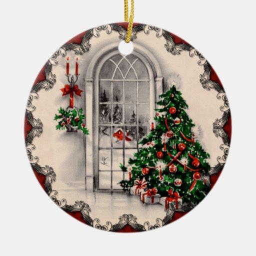 La fenêtre vintage de Noël allume l'ornement Ornement Rond En Céramique
