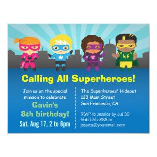 La fête d'anniversaire mignonne de super héros carton d'invitation 10,79 cm x 13,97 cm