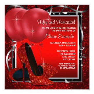 La fête d'anniversaire noire et rouge de la femme carton d'invitation  13,33 cm