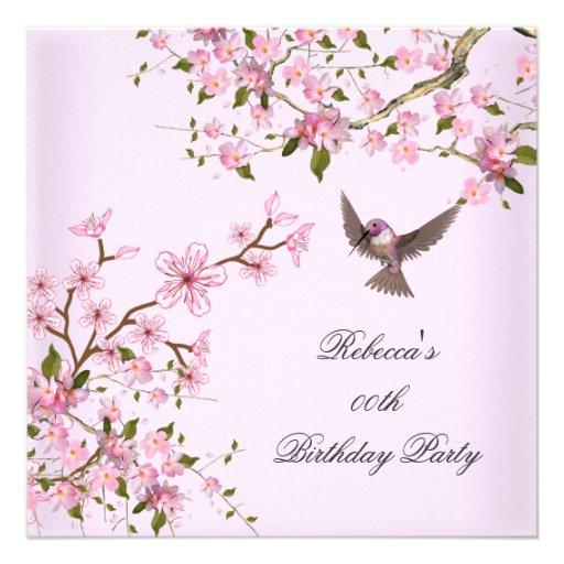 La fête d'anniversaire rose asiatique de fleur fle cartons d'invitation