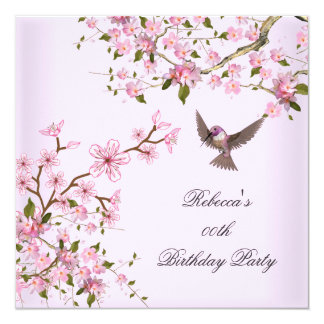 La fête d'anniversaire rose asiatique de fleur cartons d'invitation
