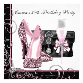 La fête d'anniversaire rose et noire de la femme bristol personnalisé