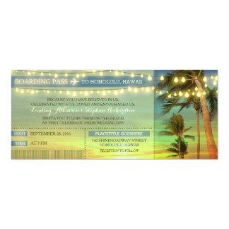 La ficelle allume des paumes épousant des billets carton d'invitation  10,16 cm x 23,49 cm