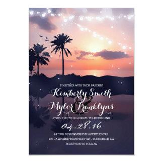 La ficelle allume le mariage de coucher du soleil carton d'invitation  12,7 cm x 17,78 cm