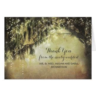 La ficelle allume le Merci de branches d'arbres de Cartes De Vœux