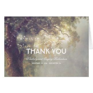 La ficelle allume le Merci rêveur rustique de Cartes De Vœux