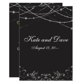 La ficelle blanche noire gothique allume le carton d'invitation  12,7 cm x 17,78 cm