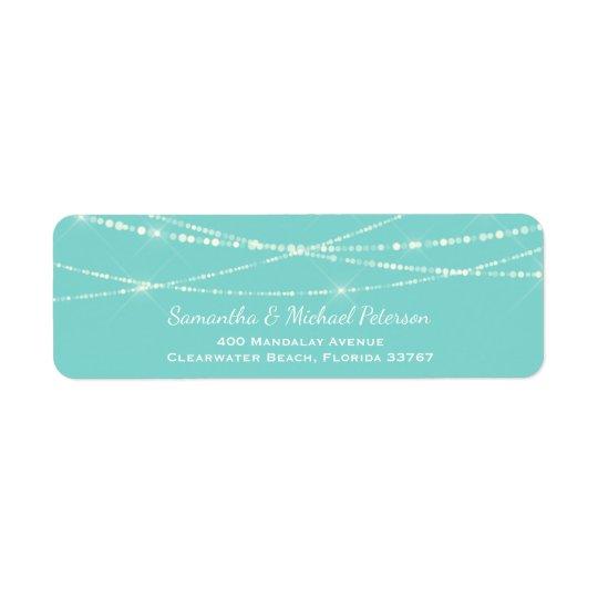 La ficelle bleue de Tiffany allume le mariage fait Étiquette D'adresse Retour