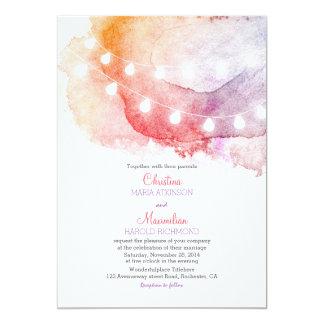 la ficelle d'aquarelle allume le mariage élégant carton d'invitation  12,7 cm x 17,78 cm