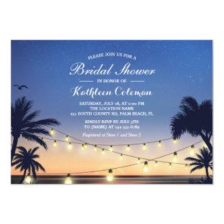 La ficelle de coucher du soleil allume la douche carton d'invitation  12,7 cm x 17,78 cm