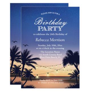 La ficelle de coucher du soleil de Palm Beach Carton D'invitation 12,7 Cm X 17,78 Cm