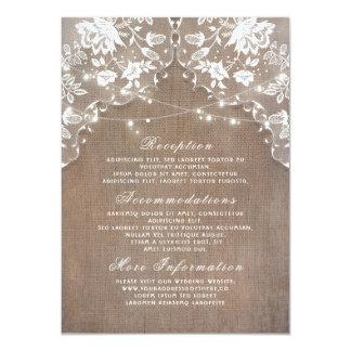 La ficelle de dentelle de toile de jute allume les carton d'invitation  11,43 cm x 15,87 cm