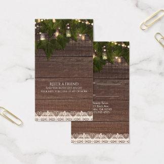 La ficelle de lierre allume le pot de maçon cartes de visite