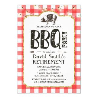 La ficelle de partie de BBQ de retraite allume le Carton D'invitation 12,7 Cm X 17,78 Cm