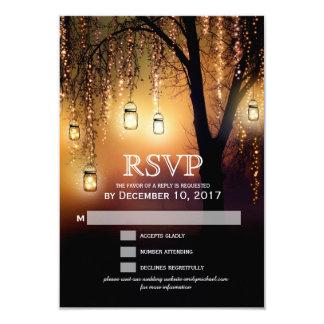 La ficelle de pots de maçon allume la carte carton d'invitation 8,89 cm x 12,70 cm