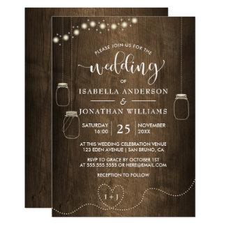 La ficelle de pots de maçon allume le mariage en carton d'invitation  12,7 cm x 17,78 cm