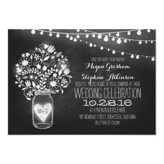 la ficelle de tableau de pot de maçon allume des carton d'invitation  12,7 cm x 17,78 cm