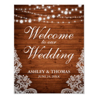 La ficelle en bois de mariage rustique allume la poster