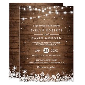 La ficelle en bois rustique allume le mariage carton d'invitation  12,7 cm x 17,78 cm