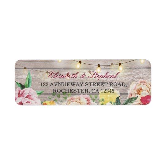 La ficelle florale vintage allume le mariage en étiquette d'adresse retour