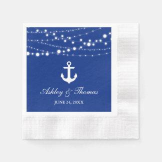 La ficelle nautique d'ancre de mariage allume C Serviette Jetable