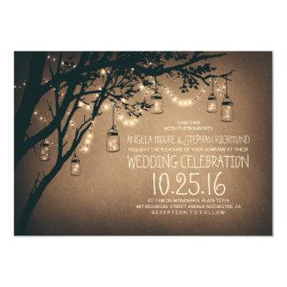 La ficelle vintage et rustique de pot de maçon carton d'invitation  12,7 cm x 17,78 cm