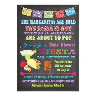 La fiesta mexicaine de tableau couple le baby carton d'invitation  12,7 cm x 17,78 cm
